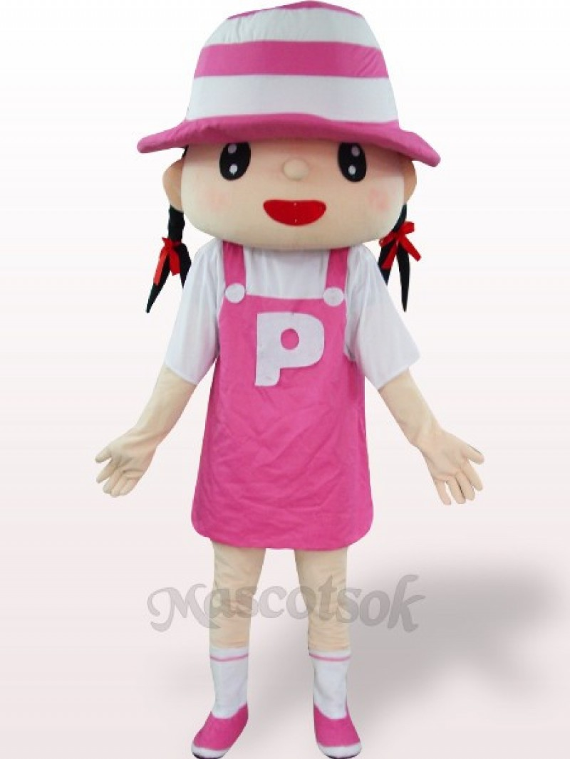 Pink Hat Girl Plush Adult Mascot Costume
