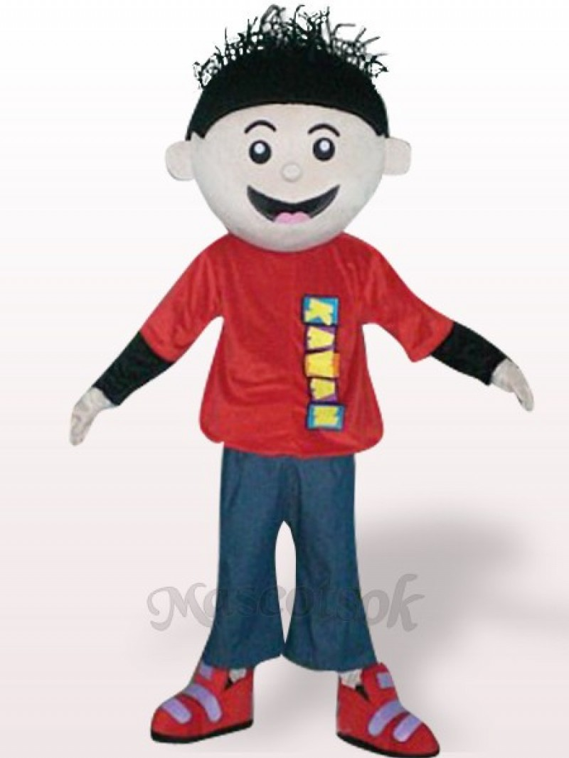 Red Boy Plush Adult Mascot Costume