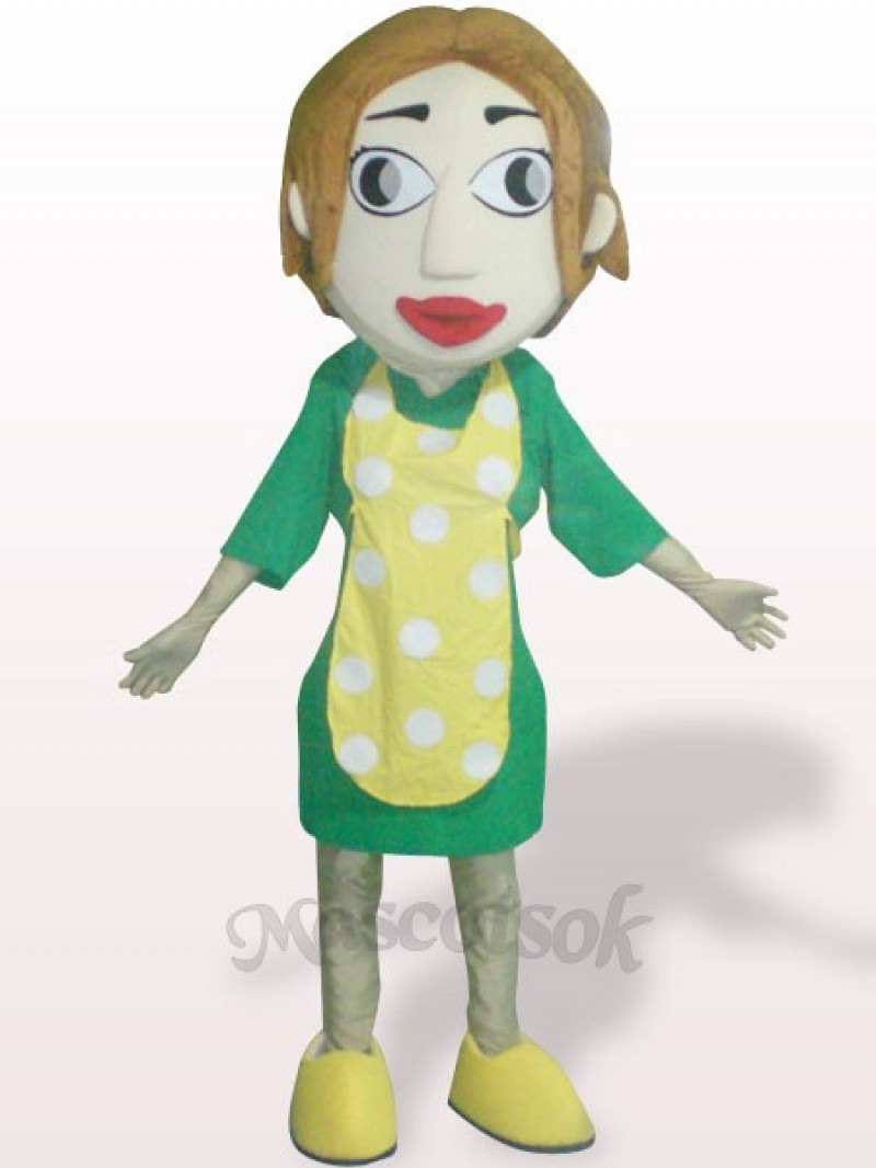 Woman With Yellow Apron Plush Adult Mascot Costume