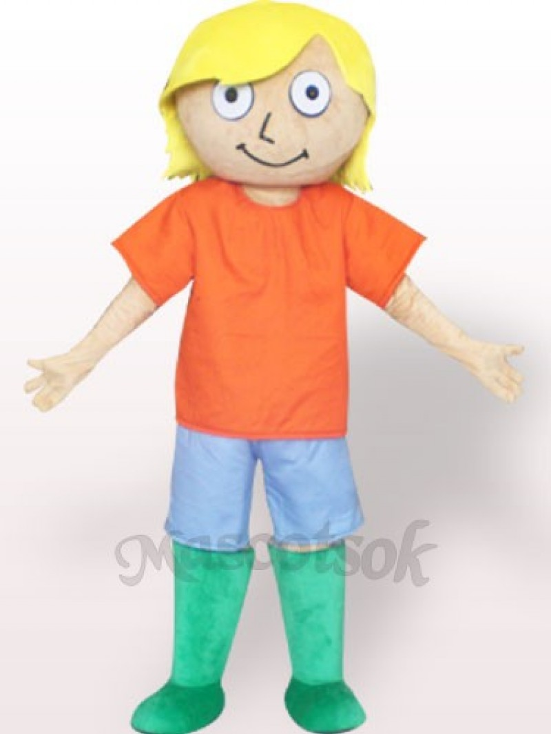 Yellow Hair Boy Plush Adult Mascot Costume