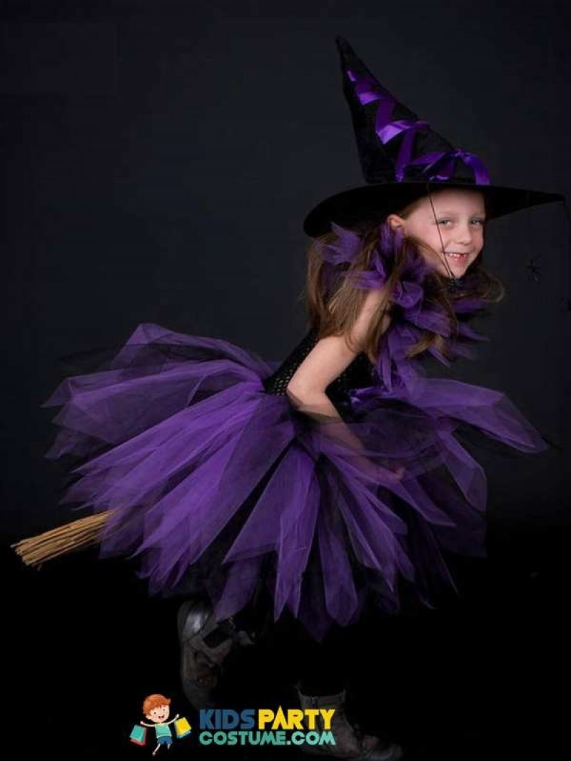Purple Black Girls Witch Tutu Dress with Witch Hat Handmade Tulle Halloween Costume Carnival Cosplay Party Photo Dress