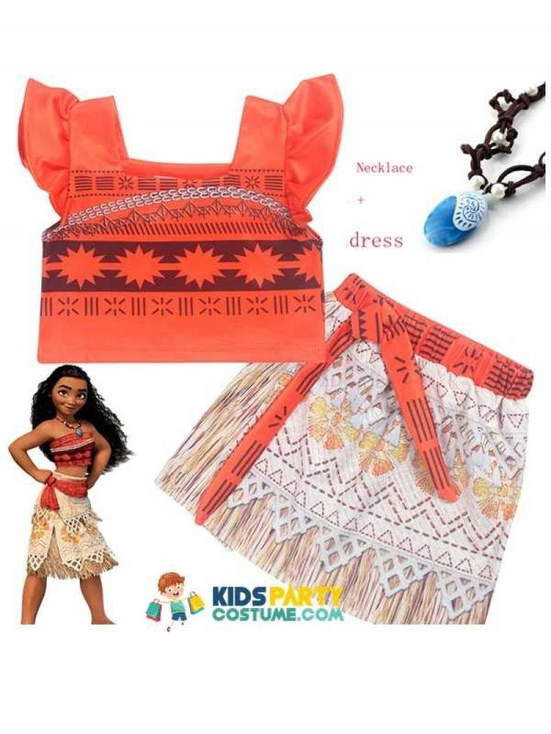 Princess Moana Costume for kids Vaiana dress Costume with Necklace for Halloween Costumes cosplay