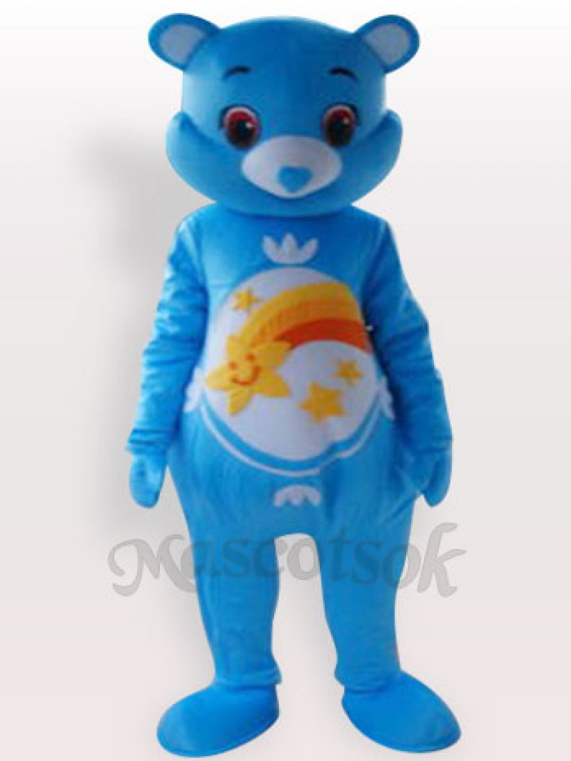 Blue Bear Short Plush Adult Mascot Costume