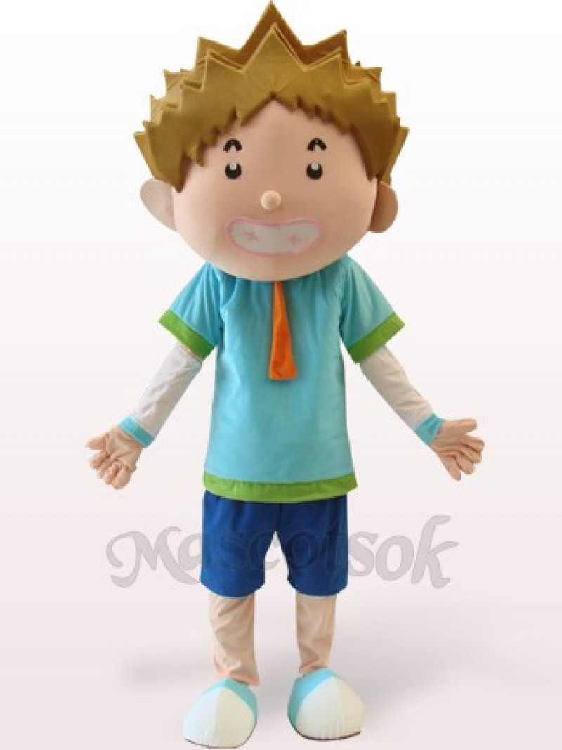 Smart Boy Plush Adult Mascot Costume