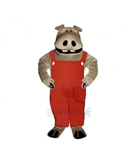 Hippie Hippo with Overalls Mascot Costume