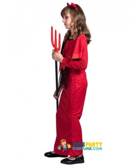 Kids Christmas Devil Cosplay Carnival Witch Cosplay Girls Scary Halloween Costume