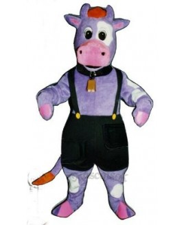 Cute Purple Cow with Overalls and Bell Mascot Costume