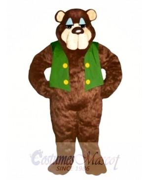 Cute Bramble Bear with Vest Mascot Costume
