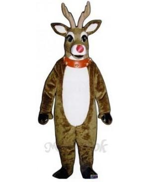 Mistletoe Deer with Lite-up Nose, Collar & Cuffs Christmas Mascot Costume