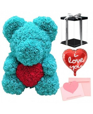 Green Rose Teddy Bear Flower Bear with Red Heart with Balloon, Greeting Card & Gift Box for Mothers Day, Valentines Day, Anniversary, Weddings & Birthday