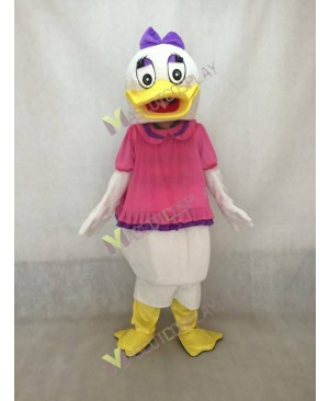 Purple Eyebrows and Bow Daisy Duck Mascot Costume
