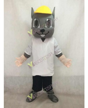 Gray Squirrel Mascot Costume in Yellow Hat