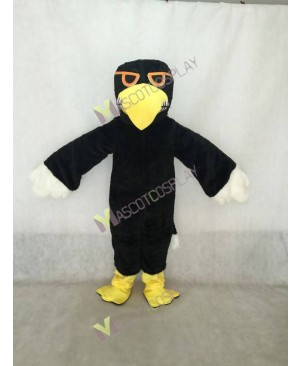 Black Hawk Mascot Costume in Yellow Beak