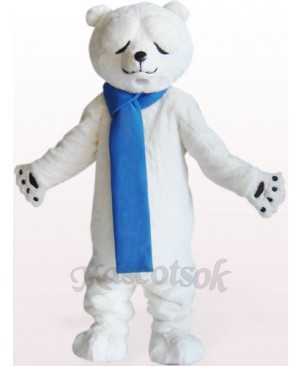 Polar Bear With Narrowed Eyes Plush Adult Mascot Costume