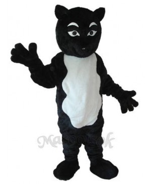 Black-and-White Fox Mascot Adult Costume