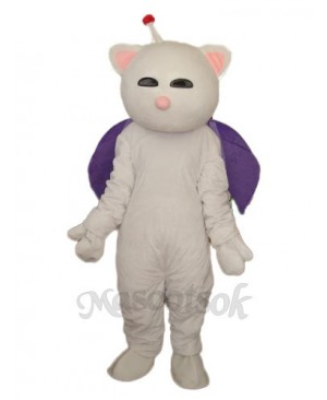 Pink Nose White Cat Mascot Adult Costume
