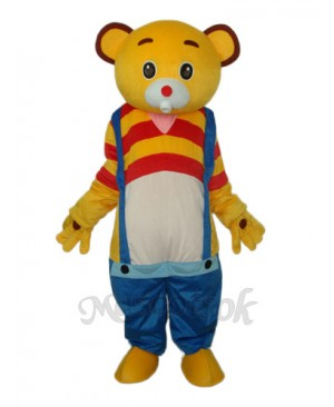 Yellow Bear Wear Blue overalls Mascot Adult Costume