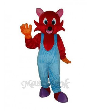 Red Fox in Blue Bib Overalls Mascot Adult Costume