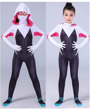 3D kids Women Gwen Stacy Spider-man Cosplay Costume Gwendolyn Maxine Stacy Spiderman Zentai hero Bodysuit Suit Jumpsuits