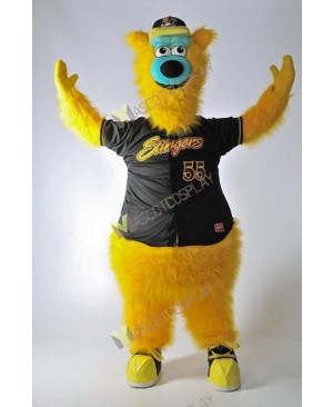Barry the Bear Willmar Stingers Mascot Costume Yellow Bear Mascot Costume