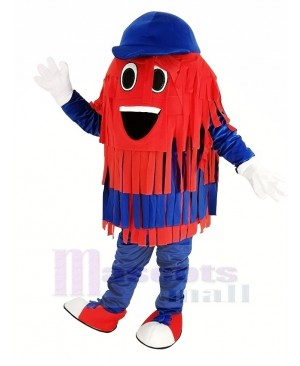 Blue and Red Car Wash Cleaning Brush Mascot Costume