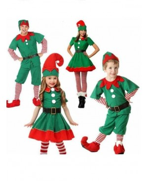 Christmas Elf Costumes kid Xmas cosplay Fancy dress Parent-child Suit Gift