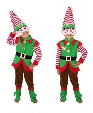 Kid Cosplay Dress Suit Boy Girl Performance Uniform Green Christmas Elf Clothes Santa's Costume Clown Clothes Halloween