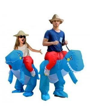 Adult/Kids Blue Inflatable Dinosaur Costume Dino Rider T-Rex Cosplay
