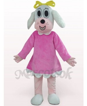 Female Dog In Fuchsia Clothes Plush Mascot Costume