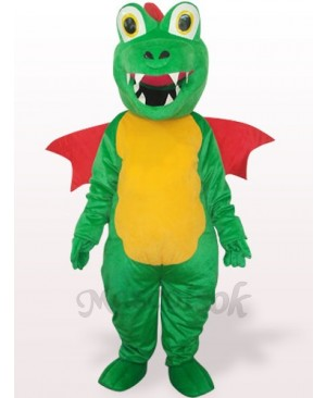 Green Dinosaur With Red Wing Plush Adult Mascot Costume
