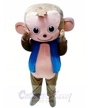 Cute Monkey Mascot Costume in Blue Jacket