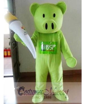 Green Pig Mascot Costume Adult Costume