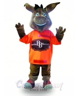 Cute Grey Donkey Mascot Costume