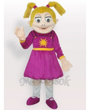 Laughing Girl Short Plush Adult Mascot Costume