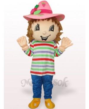 Lovely Colorful Strawberry Shortcake Girl Plush Adult Mascot Costume