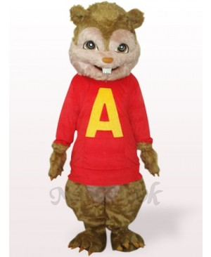 Red Squirrel With Long Hair And Short Teeth Plush Adult Mascot Costume