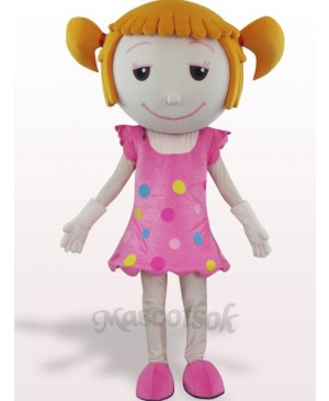 Solid Hair Girl Plush Adult Mascot Costume