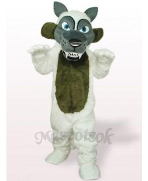 White Long Hair Wolf Plush Adult Mascot Costume