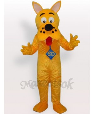 Yellow Dog Short Plush Adult Mascot Costume