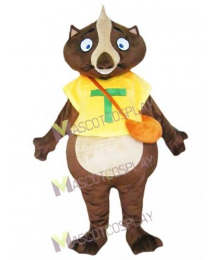 Wombat Mascot Costume in Yellow Shirt