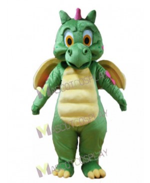 High Quality Realistic Green Dragon with Yellow Wings Mascot Costume