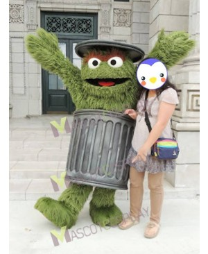 Sesame Street Grass Green Oscar The Grouch Mascot Costume