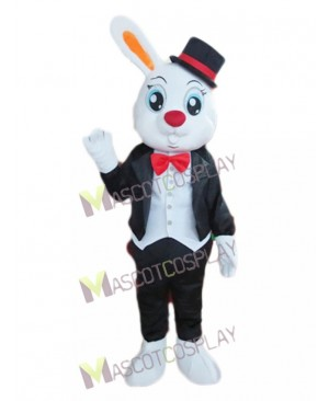 Single Ear Bunny in Tuxedo and Top Hat Mascot Costume
