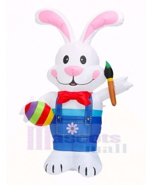 6 ft Easter Inflatable Bunny Holding Paintbrush with LED Lights Outdoor Indoor Holiday Decoration Yard Lawn Home Outside Art Decor