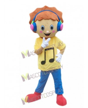 Music Boy with Headphone in Yellow Shirt Mascot Costume