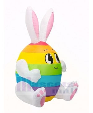 5 ft Easter Inflatable Bunny Egg Rabbit with LED Lights Outdoor Indoor Holiday Decoration Yard Lawn Home Outside Art Decor