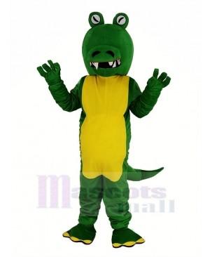 Green Crocodile With Big Mouth Mascot Costume Animal