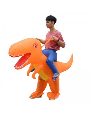 Orange Dinosaur with Big Head Carry me Ride on Inflatable Costume Halloween Christmas for Adult/Kid
