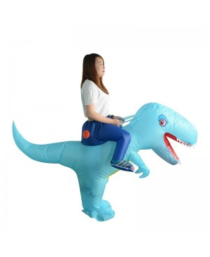Blue Dinosaur with Big Head Carry me Ride on Inflatable Costume Halloween Christmas for Adult/Kid