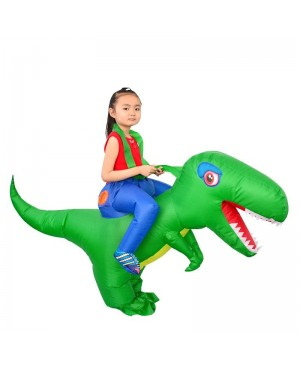 Green Dinosaur with Big Head Carry me Ride on Inflatable Costume Halloween Christmas for Kid